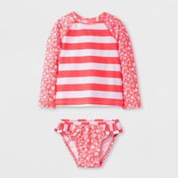 Toddler Girls' Stripe Rash Guard - Cat & Jack™ Pink