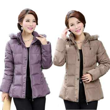 2016 Female Winter Jacket Women Middle-aged  Plus Size Fur Collar Hooded Cotton Down Jackets Winter coat Women Parka XL-5XL