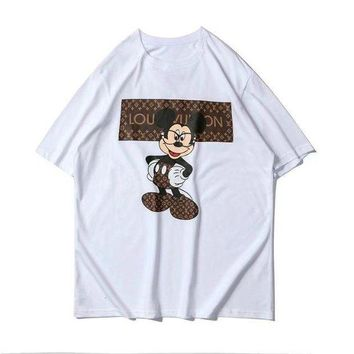 LV Louis Vuitton Fashion Women Men Mickey Mouse Print Short Sleeve T-Shirt Top White I-GQHY-DLSX