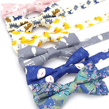 KR1133-1139 Men's Bow Tie Adjustable 100% Cotton Butterfly Cravat Animal Cat Fish Duck Print Bowtie Tuxedo Bows Male Accessories