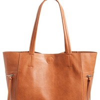 Junior Women's Emperia Side Zip Faux Leather Tote - Brown (Online Only)