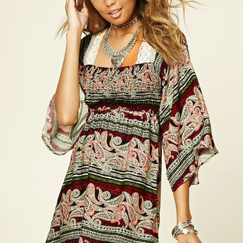 Abstract Paisley Print Dress
