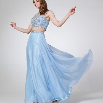 Perry Blue Beaded Two Piece Dress 2015 Prom Dresses