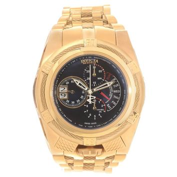 Invicta 16956 Men's Bolt Zeus Tria Reserve Black Dial Gold Steel Bracelet Chronograph Watch