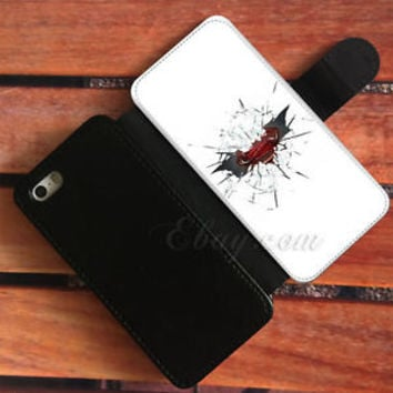 Cracked Glass Wallet iPhone Cases Batman Superman Samsung Wallet Leather Cases