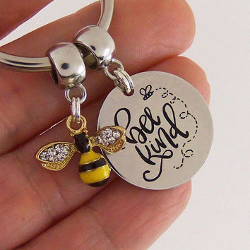 Bee kind quote keychain, be kind quote key chain, bee nice, motivational quotes, inspirational quote keyring, personalized quote keychain