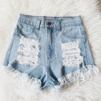Jess Distressed High Waist Shorts