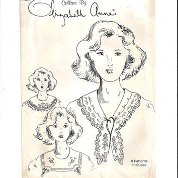 Elizabeth Anne Pattern for 8 Collars from Upcycled Table Linens, FACTORY FOLDED & UNCUT, From 1980s, Home Sewing Pattern, Vintage Pattern
