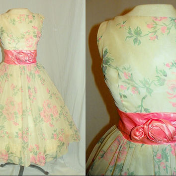 1950's PINK ROSE Print Chiffon Satin Party Dress Vintage 50's Couture Garden Roses Mad Men Wedding Formal Cupcake Cocktail Dress