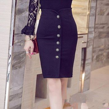 ONETOW Womens  skirts high waist single breasted slim package hip plus size slit Elegant ol red pencil skirts
