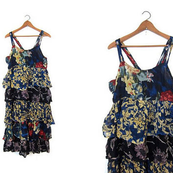90s India Dress Floral Midi Dress Patchwork Fabric Rayon Sundress Tiered Sun Dress Revival Loose Fit Slip Dress Ruffles Womens Large