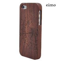 eimolife (TM) Unique Handmade Natural Wood Wooden Hard bamboo Case Cover for iPhone 5 with free screen protector(Walnut-compass)