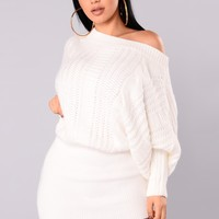 Millie Cable Knit Sweater - White