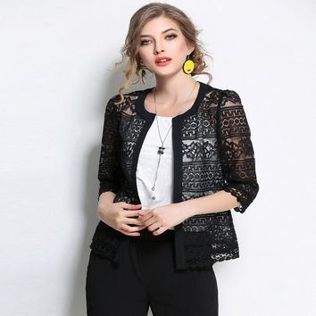 Trendy 2018 New Women Plus Size Clothing 5xl 4xl Summer Ladies Spring Summer Cardigan Coat Black Crochet Sexy Female White Lace Jacket AT_94_13