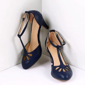 Navy Blue Pleather Cutout Kimmy T-Strap Heels