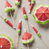 Watermelon Cocktail Umbrellas by Anthropologie in Red Size: Set Of 24 Gifts