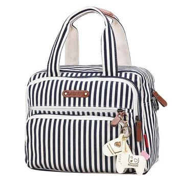 Toddler Backpack class New Striped Fashion Mom Bag Canvas Tote Bag Mummy Diaper Bag Baby Organizer Multi Function Travel Backpack Toddler Stroller AT_50_3
