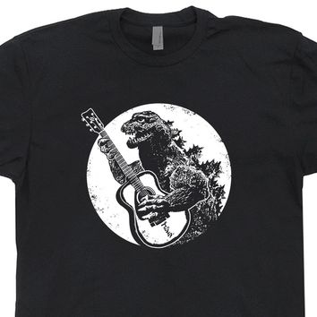 Godzilla Guitar Shirt Godzilla Playing Guitar Cool Vintage Guitar Tee Shirt