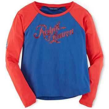Ralph Lauren Childrenswear Girls 7-16 Cotton Baseball Tee
