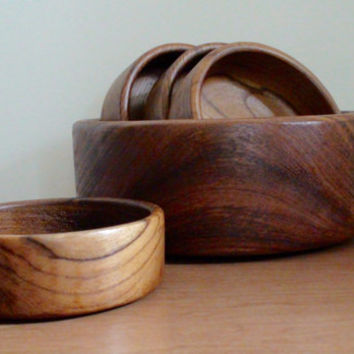 Vintage Teak Salad Bowl Set