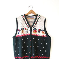 Vintage 1990s Ugly Holiday Ugly Christmas Gingerbread Sweater Vest Sz 1X Sz XL