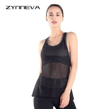 ZYNNEVA Women Sports Tops Shirt Hollow Out Slim Workout Vest Sleeveless Sweating Quick-drying Ladies Fitness T Shirt PT313
