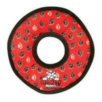 DCCKU7Q VIP Products Tuffy Ultimate Gear Ring Red Paws