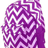 Chevron Print Zig Zag School Travel Backpack (Purple)