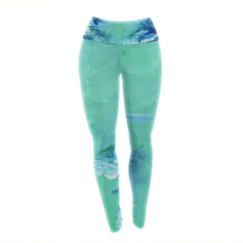 "Ebi Emporium ""Winter Dreamland 6"" Green Blue Yoga Leggings"