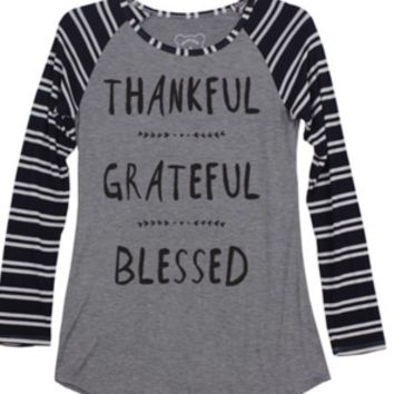 Thankful Grateful Blessed Baseball Tee (Black Stripe)