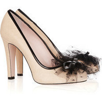 Red Valentino | Tulle-embellished leather pumps | NET-A-PORTER.COM