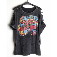 Women Punk Rock T Shirt Graffiti Print Vintage Hollow Out Batwing Sleeve Washed Tees Hip Hop Plus Size Tops