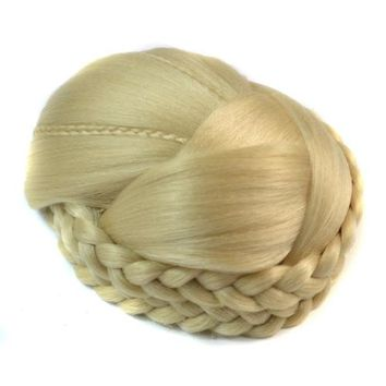 12x10cm European Vintage Chignon Hair cap Pack Double Braids Wig Bun Gold Blonde