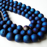 "Druzy Beads, Blue Titanium Pixie Dust Round Beads, Agate Druze With Coating Matte Ball, 12mm  7.5"" Strand"