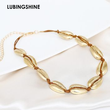 LUBINESHINE Bohemian Fashion Shell Necklace Collar Accessories Women Choker Handmade Gold Silver String Necklace Mujer Jewelry