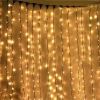 6M x 1M 256 LED Outdoor Party christmas xmas String Fairy Wedding Curtain Light 8 Modes (Warm White)