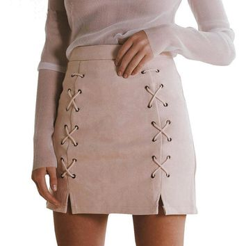 Ladies' High Waisted Bodycon Suede Mini Skirt