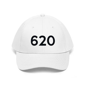 Kansas 620 Area Code Embroidered Twill Hat BLACK