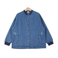 Snap Buttoned Denim Bomber Jacket