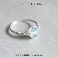 Frozen Blue Ice Ring - unique rings - wire wrapped jewelry handmade - custom ring