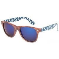 Blue Crown Wood Tribal Classic Sunglasses Blue Combo One Size For Men 25388624901