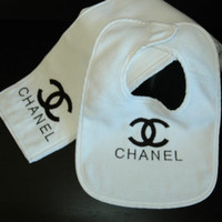 Chanel B/W Terry Bib & Matching Burp Cloth