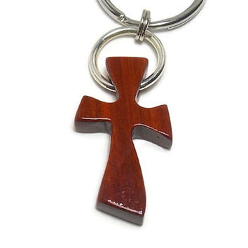 Wood Cross Keychain, Carved Cross, Brazilian Pernambuco Wood,  Men's Keychains, Gifts Under 20