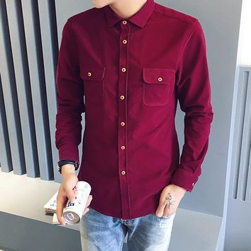2016 Autumn Vintage Corduroy Shirt Men Solid Long Sleeve Casual Shirt Mens camisa masculina Slim Fit chemise homme Luxury