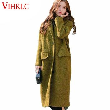 New Fashion Loose Winter Green Wool Coat Women Long Wool Coat Female Wool & Blends Trench Thick Wide-waisted wool coat D248