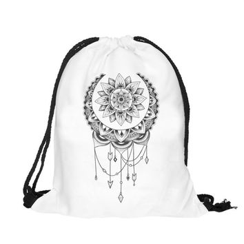 2017 Mew Grey dream catcher DrawString bag printing backpack for teen girls women's backpack mochila escolar feminina#XYL
