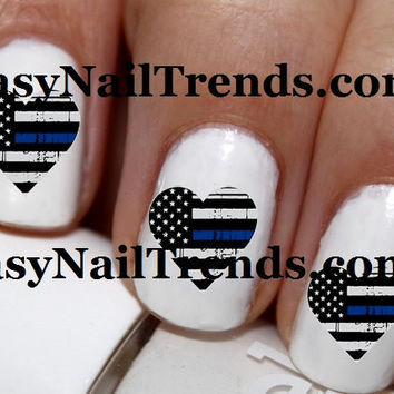 20 pc Thin Blue Line Heart Police Love Cop Love I Love My Police Man Nail Art Nail Decals Nail Stickers Lowest Price On Etsy #cg57na