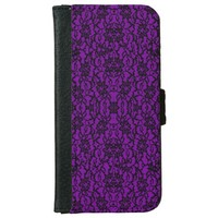 Vintage Goth Dark Purple Lace Wallet Phone Case