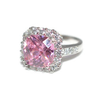 Large Halo Pink Sterling Silver CZ Ring Size 6 Rhodium Plated - Sterling Silver Cubic Zirconia Ring - Large Pink Cocktail Ring - Pink Ring