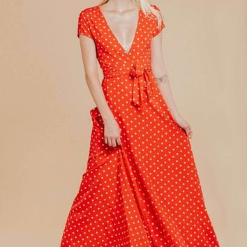 Alana Red Polka Dot Maxi Dress